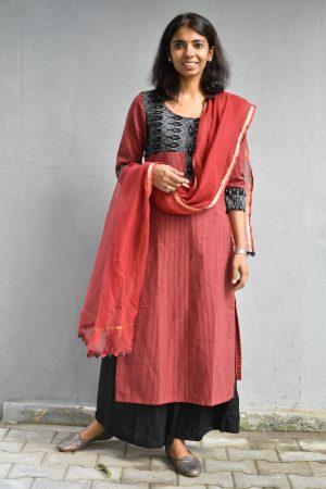 Red and black yoke cotton kurta