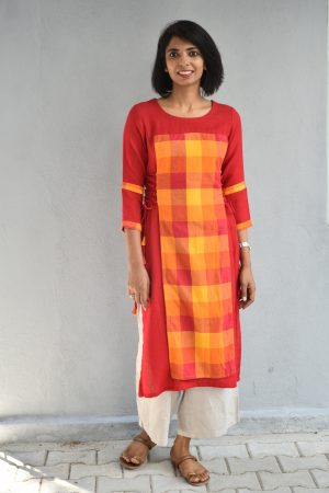 Red and yellow checks cotton tunic