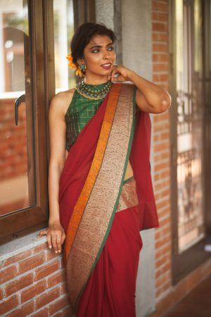 Red chiffon with kanchi border saree