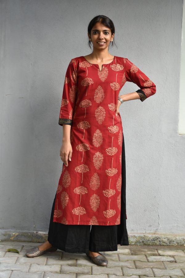 Red kadi printed cotton kurta