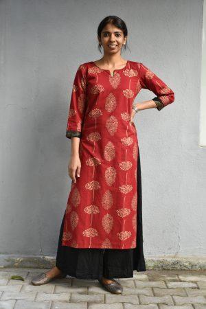 Red kadi printed cotton kurta1
