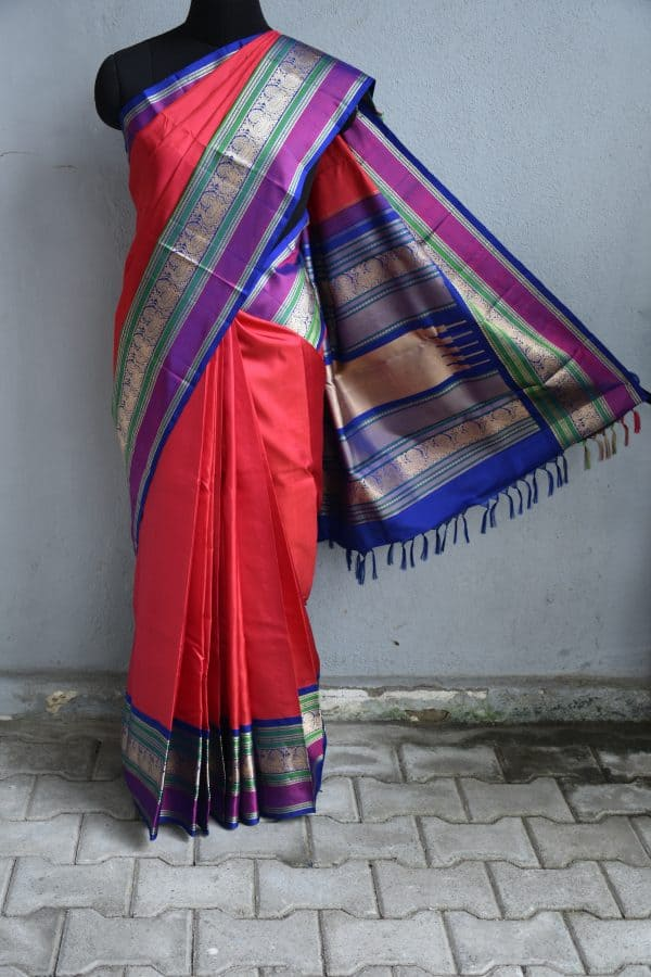 Red thread weave kancheepuram soft silk saree with blue border
