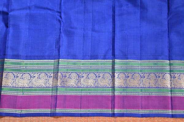 Red thread weave kancheepuram soft silk saree with blue border blouse