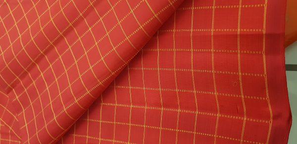 Red zari checks kanchi silk fabric