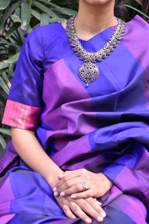 Royal blue ready to wear kanchi silk blouse (1)