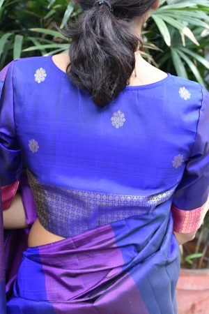 Royal blue ready to wear kanchi silk blouse (2)