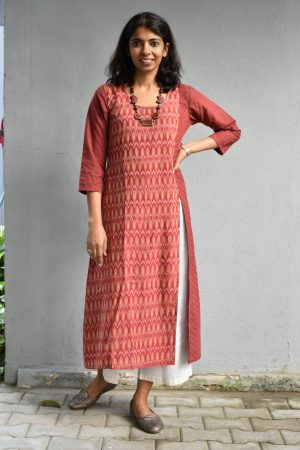 Rust ikat cotton kurta