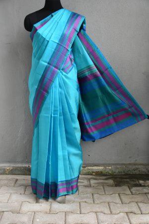 Teal with purple thread weave border kancheepuram soft silk saree