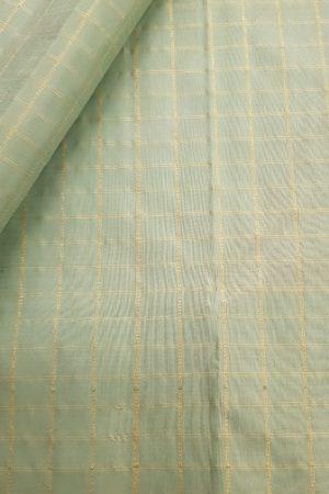 Pale green kanchi silks fabric