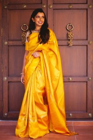 Yellow stripes kancheepuram silk saree1