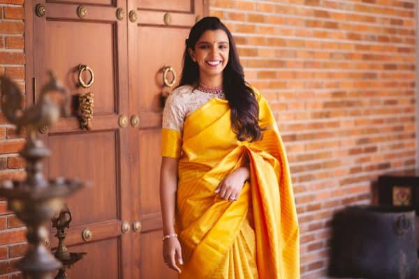 Yellow stripes kancheepuram silk saree2