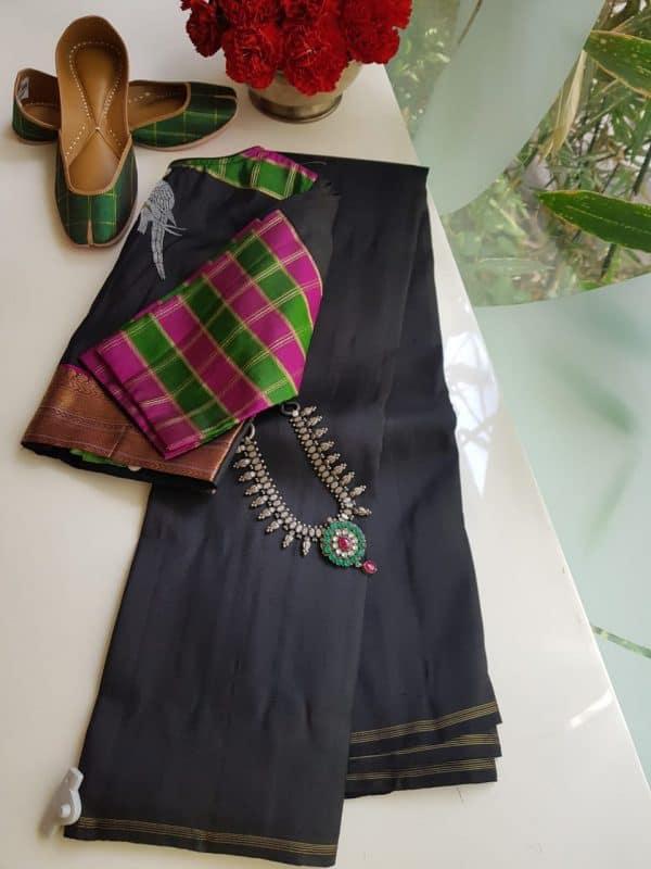 black plain kanchi silk saree