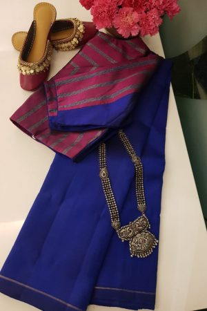 blue plain kancheepuram silk saree