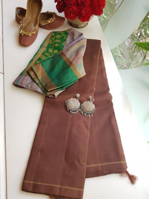 brown plain kanchi silk saree