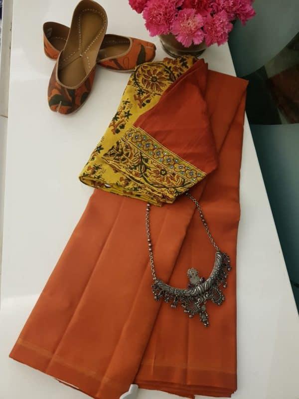 orange plain kanchi silk saree