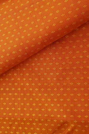 orange zari buttis kanchi silk fabric