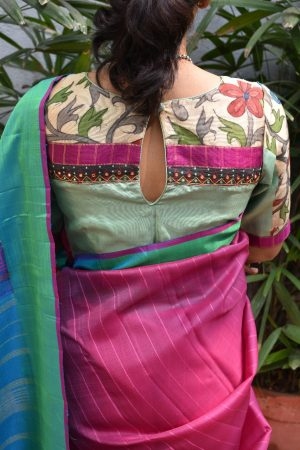 pale green kalamkari blouse back