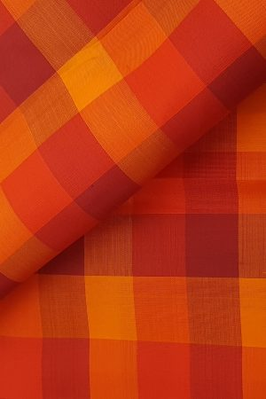 red checks kanchi silk fabric