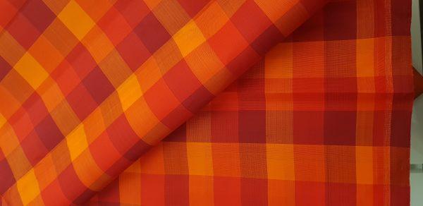 red checks kanchi silk fabric