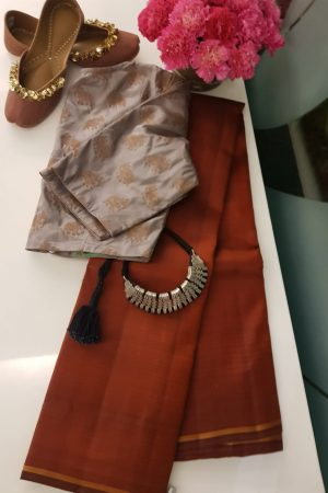 rust plain kanchi silk saree