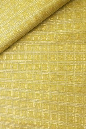 yellowish green gold and silver kanchi silk fabric