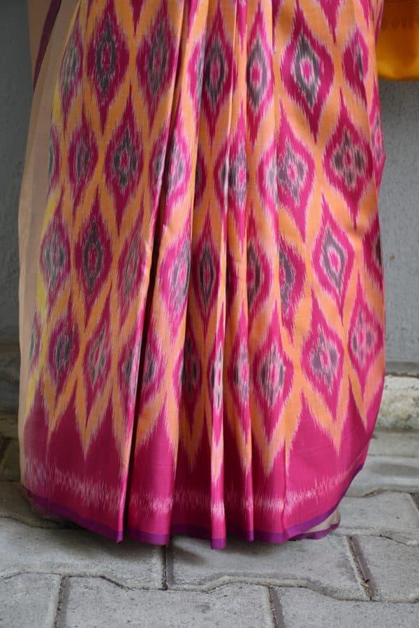 Beige and multicolour ikat weave kanchi silk saree 1