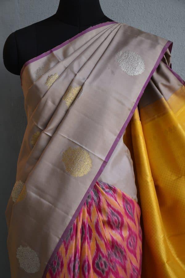 Beige and multicolour ikat weave kanchi silk saree 2