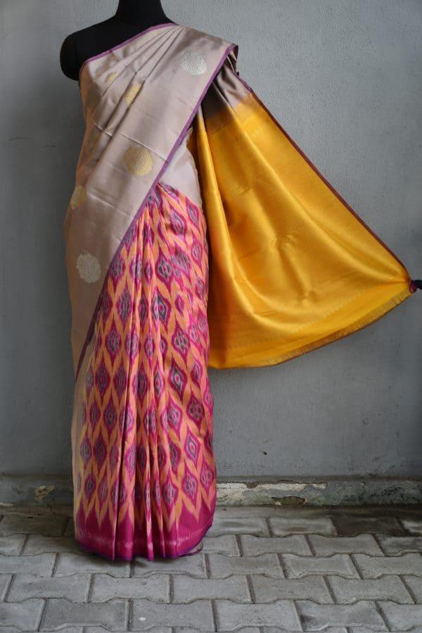Beige and multicolour ikat weave kanchi silk saree