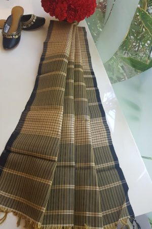 Beige black checks kanchi silk dupatta