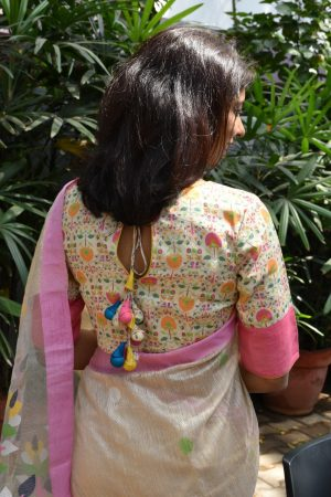Beige cotton multicolour printed ready to wear blouse back