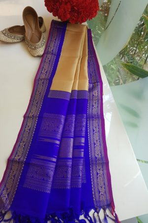 Beige kanchi silk dupatta with Purple border