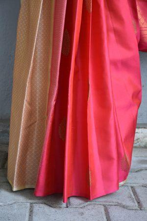 Beige pink partly pallu kanchi silk saree 1