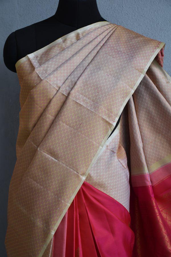Beige pink partly pallu kanchi silk saree 2