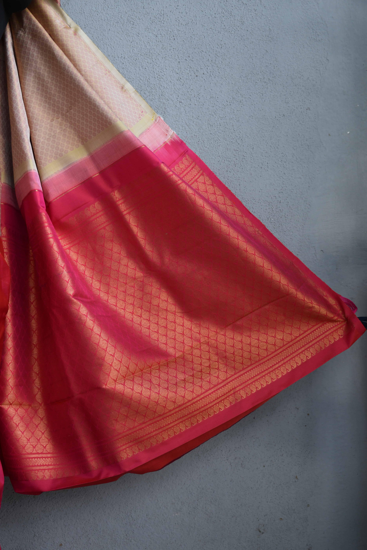 Beige pink partly pallu kanchi silk saree 3