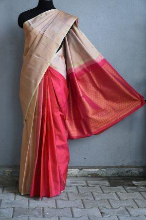 Beige pink partly pallu kanchi silk saree