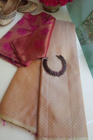 Biege kanchi silk saree with pink thread weave