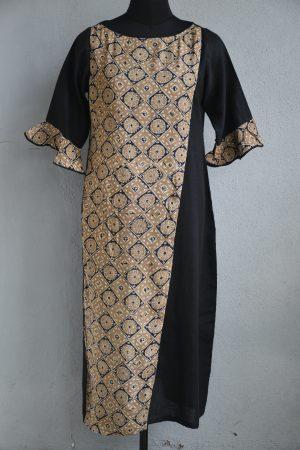 Black cotton and beige gajji silk layered kurta