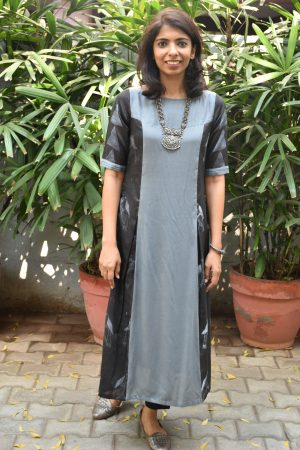 Black grey chandheri kurta