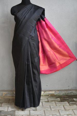 Black plain kanchi silk saree with pink rich pallu 1