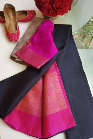 Black plain kanchi silk saree with pink rich pallu