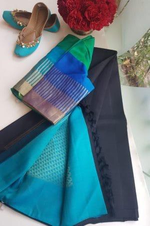 Black plain kanchi silk saree with teal rich pallu