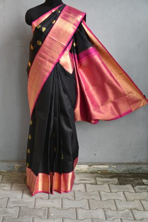 Black self jacquard kanchi silk saree with pink border 1
