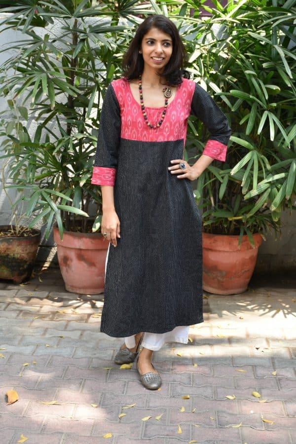 Black twisted cotton kurta`