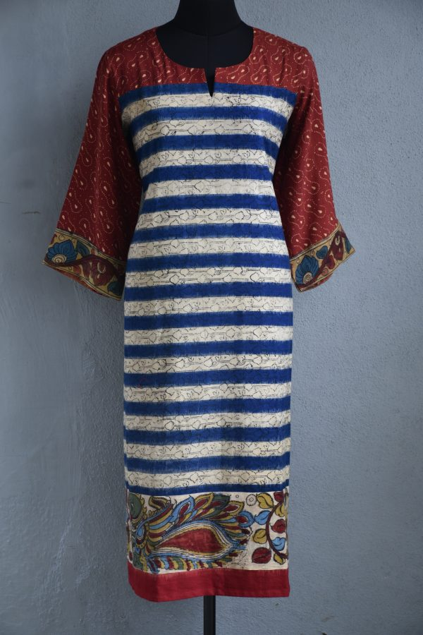 Blue and cream ikat stripes kalamkari cotton kurta