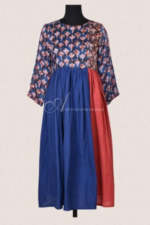 Blue and rust cotton tunic