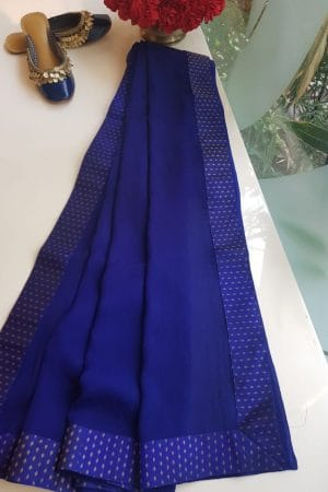 Blue chiffon dupatta with kanchi silk border