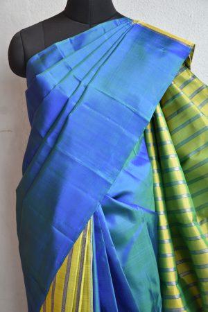 Blue green lines partly pallu kanchi silk saree 3