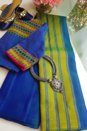 Blue green lines partly pallu kanchi silk saree