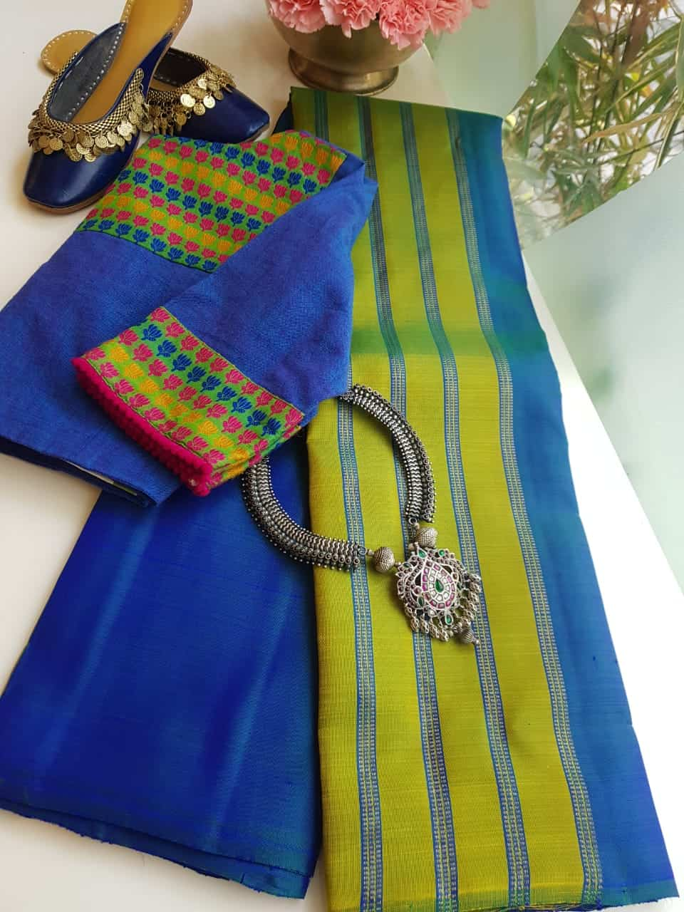 Blue Green Online >> Blue Green Lines Partly Pallu Kanchi Silk Saree