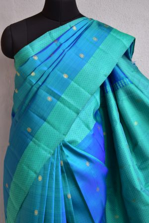 Blue green matte border kanchi silk saree 3